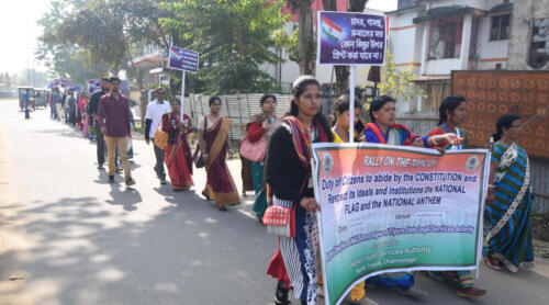 """On the theme 'To abide by the Constitution and respect its ideals and institutions, the National Flag and the National Anthem"""", today (22.01.2020) District Legal Services Authority, North Tripura District organised an Awareness Rally in the heart of Dharmanagar city to raise awareness of an issue that is important to the citizens around the country."""
